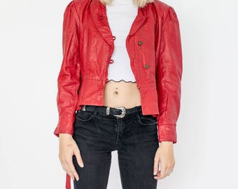 90s Vintage Red Cropped Leather Blazer