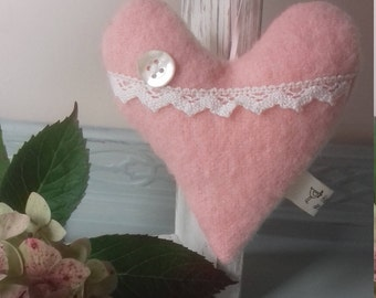 Lavender heart.  Vintage blanket heart.  Blanket and lace heart.  Pink love heart.  Embellished blanket heart. Perfect gift.