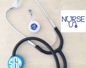 Nursing Monogram Combo Set, Nursing Grad Gift Set, Badge Reel Monogram, Nurse Decal, Stethoscope ID Tag, Nurse Gift Set, RN Graduation Gifts