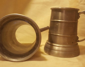 2 Mix-Matched Vintage Aluminum, Clear Bottom Mugs, Beer Stein, Ale, Tankard