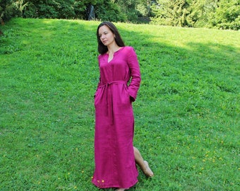 Linen maxi dress with sleeves, Summer maxi dress, Linen dress plus size, Linen clothing, Natural linen dress, Floor length dress, Boho