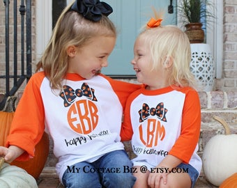 Halloween Bow Monogram Bodysuit or T-Shirt - Infant, Toddler, and Youth Sizes