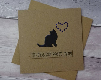 Birthday card for Mum, Handmade cat card, Cat card for Mom, To the purr-fect Mum card, Black cat card, Pun card, Personalised card, Nan