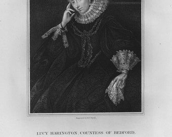Lucy Harington, Countess of Bedford Antique Engraving 1836c.