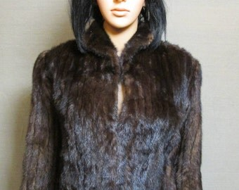 Vintage 1950's-60's Gorgeous Dark Espresso Brown SABLE? MINK Fur Bolero Shrug Short Jacket Size 6-8