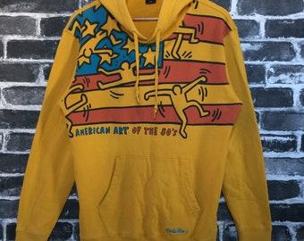 Vtg Keith Haring Orange Hoodie Art of 80s American Flag Patriotism 4th July celebration Street Wear/Art Class Wear/Daily/gravity gang Size L