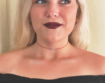 Choker necklace with simple beading