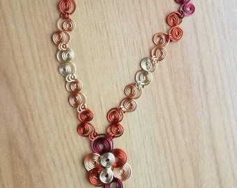 Autumn Shades Wire Scroll Necklace - WRN1