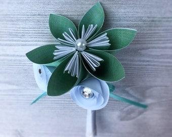 Mint Green Groom's Boutonniere - Men's Flower Boutonniere - Groom's Flower Accessory - Alternative Wedding Flowers - Men's Mint Flower