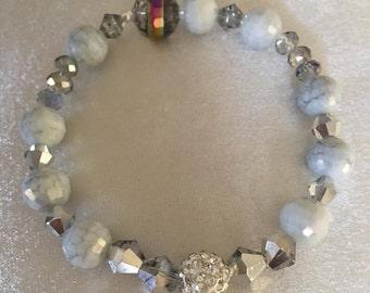 """Blue Bracelet   Handmade Glass Beads Bracelet   Crystal & Mirrored Glass Beads   Stretchy Cord   7""""   Birthday Gift   For Women   For Girls"""