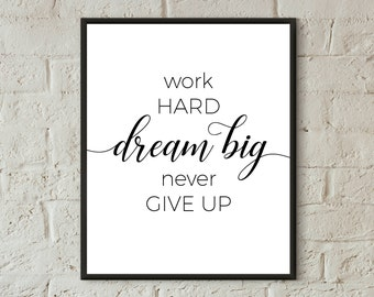 work hard quotes wall art motivational poster work office decor dorm wall art download printable art inspirational black white print bedroom