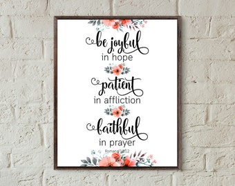 bible quotes be joyful in hope scripture print christian home decor bible verse prints gallery wall art instant download inspirational gifts