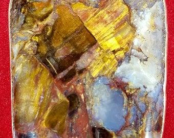 Pietersite Pendant, Gold, Very Chatoyant, great glow