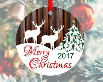 Merry Christmas 2017 Ornament, Deer Holiday Ornament, Woodland Deer Ornament, Reindeer Ornament, Rustic Barn Wood Ornament, Custom Ornament
