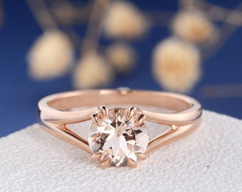 Morganite Engagement Ring Solitaire Ring Rose Gold Wedding Bridal Simple Claws Prongs Split Shank Unique Peachy Anniversary Promise Retro