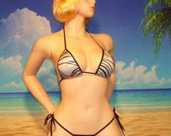 "side tie scrunch bikini w/ standard top ""the gift that keeps on giving"" S/M USA made"