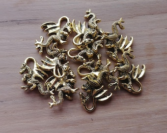 10 x Zinc Alloy Gold Dragon Charms for Jewellery Making