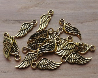 15 x Zinc Alloy Gold Angel Wings Charms for Jewellery Making
