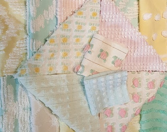 "54 Piece Vintage Chenille Bedspread Fabric Squares 6"" & 3.5"" Summer Weight Baby Girl Quilt Kit Pretty Pastels Pink Yellow Mint Aqua Lavender"