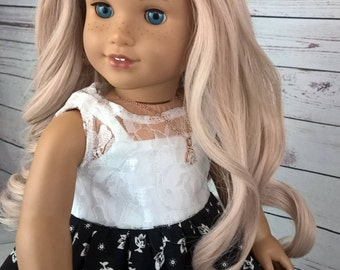 """Custom 10-11"""" Doll Wig Fits Most 18"""" Dolls, Blythe, 1/4 Sized Dolls and More """"Pearl Rose"""" Heat Safe"""