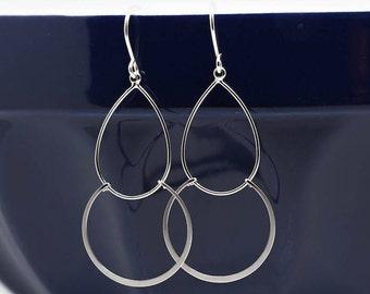 Delicate earrings silver plated matt Teardrop Earrings