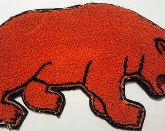 Vintage Orange Chenille Letterman's Bear Patch