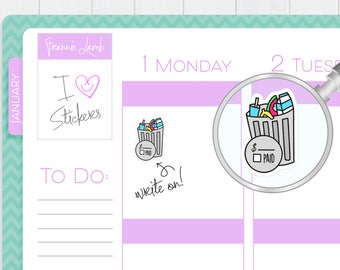 Trash Bill Stickers, Planner Stickers, Trash Bill Stickers, Write-On Stickers, Calendar Stickers, Kawaii Stickers, Cleaning Stickers