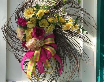 floral birch wreath, hollyhock wreath, fuschia wreath, woodsy floral wreath, yellow floral wreath, hot pink wreath, vibrant wreath