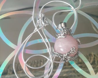Rose Quartz Dragon ball crystal necklace with 925 silver chain