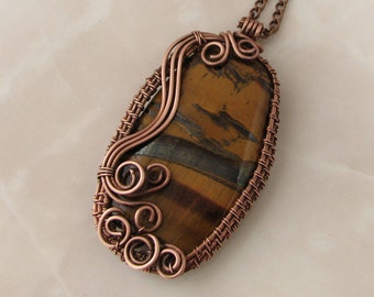 Wire wrap pendant with natural stone Tiger's eye Gift for her Present for my Wife 7th-anniversary wedding Copper and gemstone Boho Jewelry