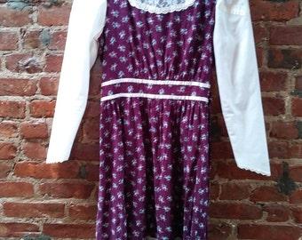 Vintage Purple Floral and Lace School Dress