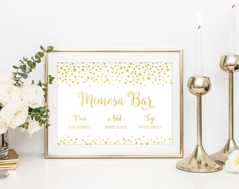 Gold Confetti Mimosa Bar Sign, Mimosa Sign, Bridal Shower Mimosa Sign, Brunch Mimosa Sign, Mimosa Bar Printable, Mimosa Bar, Mimosa Bar Sign