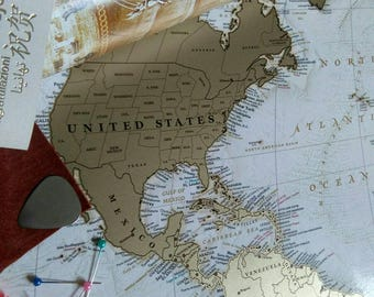 Push Pin Travel Map Scratchable Off World Map Wall Poster - United states travel map