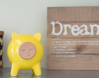 Yellow piggy bank, ceramic piggy bank, big piggy bank, housewarming gift, home decor, wedding gift, Christmas gift, nursery, Kids gift, PIGZ