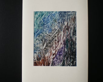Underwater rock pool, Original encaustic wax art greetings card