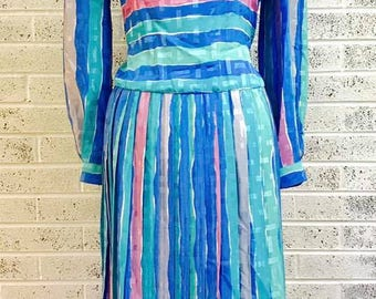 80's Dress, Vintage Dress, Pastel Stripes, Size 8