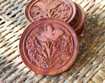 Vintage Wooden Coasters Carved Flowers