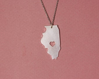 Illinois necklace Illinois state necklace sterling silver Illinois pendant heart Illinois necklace Illinois shape necklace Illinois map