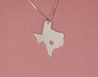 Texas necklace Texas state necklace sterling silver state of Texas pendant heart Texas necklace Texas map necklace