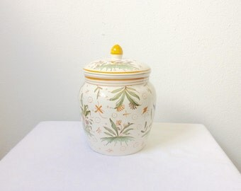 French, hand painted, Biscuit barrel, Sweet jar,Cookie jars, English Country, Cottage biscuit barrel, Biscuit jar,  midnight snacks