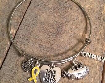 US Navy Bangle Charm Bracelet, Submarine, True Love Waits, Yellow Ribbon, Navy, Made In America, Love a Submariner, Submarine