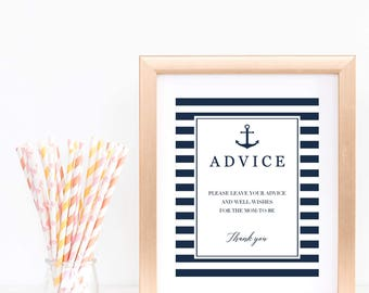 Advice Sign Advice for the New Parents Sign Nautical Baby Shower Advice Sign Wedding Advice Printable Digital Download Navy Blue Stripes NS1