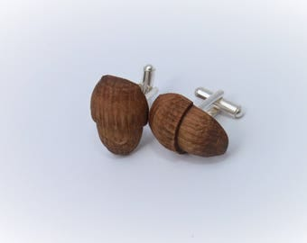 Oak Acorn Cufflinks, Wood Cufflinks, Hand Made, Groom, Groomsmen, 5 Year Anniversary,