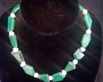 Geometric Malachite and Pearl Bead Necklace