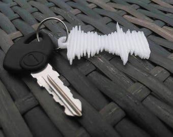 Custom 3D Printed Sound Wave Keychain