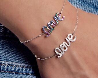Love Bracelet Rainbow Bracelet Unicorn Jewelry Charm Bracelet Dainty Bracelet Gift for Her Best Friend Bracelet Rainbow Jewelry Gift for Her