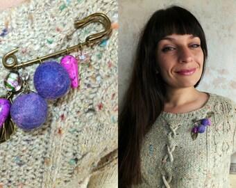 pin bead women pin brooch purple brooch metal accessory pin stone brooch wool bead jewelry glass bead brooch pink stone gift felt brooch