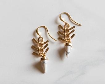 Howlite Fishbone Earrings // 16k Gold Filled Earrings // Fishbone Earrings