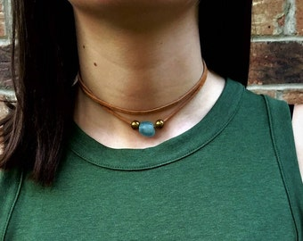 Choker- Tan Leather with Blue and Gold Beads