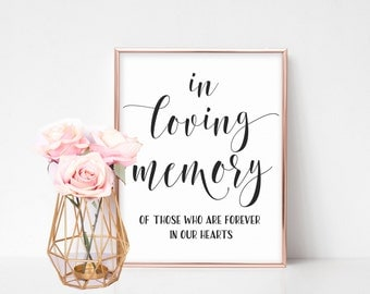 In Loving Memory Sign, In Loving Memory Wedding Sign, Printable Wedding Signs, Wedding Day Signs, Memorial Table Sign for Wedding, Signage